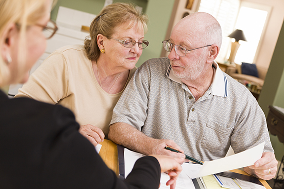 Elderly couple with accountant
